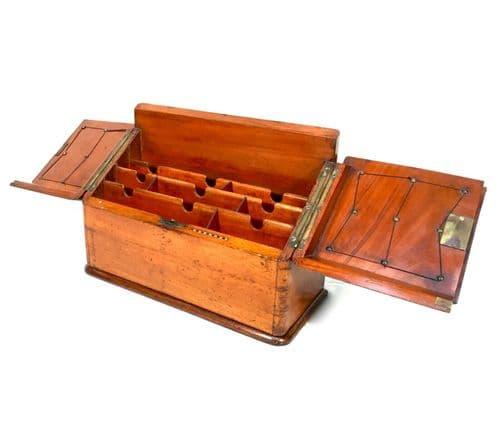 Antique Large Wooden Oak Stationary Box / Desktop Tidy / Cabinet / c1900